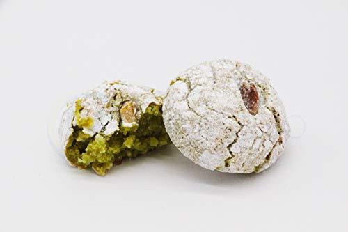 Pasticcini di mandorla siciliani al Pistacchio (500g) confezionati singolarmente in buste monodose e spedite in box regalo - Nonna Sicula - Malaseno