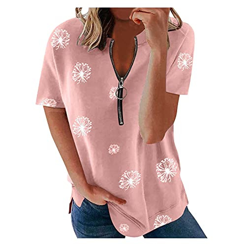 Zldhxyf Damen Kurzarmshirt 1/2 Zip V-Ausschnitt Bluse Oberteile Tops Bunter Crop Top Kontrast Patchwork Lose Sommer T Shirts Sweatshirt