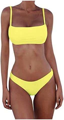 Bandeau Bikini Set for Women Sexy Swimwear Bright Color Tube Tops Backless Swimsuit Two Pieces product image