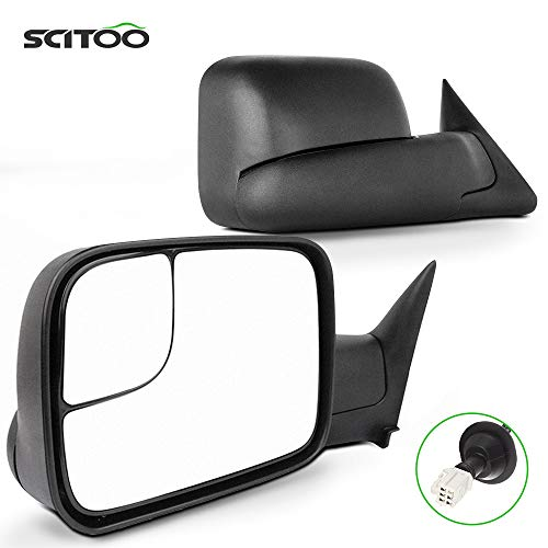 SCITOO Tow Mirrors fit 1998-2001 Dodge Ram 1500 1998-2002 Ram 2500 3500 Power Heated W/Support Brackets Side View Mirror Pair Set