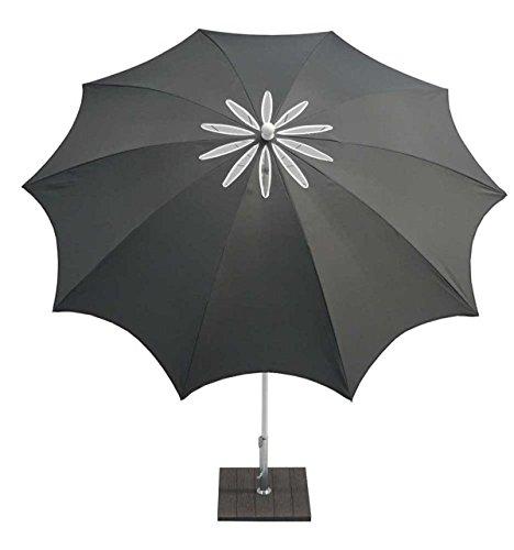 PEGANE Parasol centré en Polyester 210Gr/m² Coloris Anthracite - Dim : D 250/10 x H 250 cm