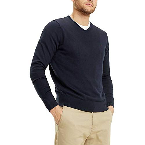 Tommy Hilfiger Herren CORE Cotton-Silk Vneck Pullover, Blau (Sky Captain 403), Small