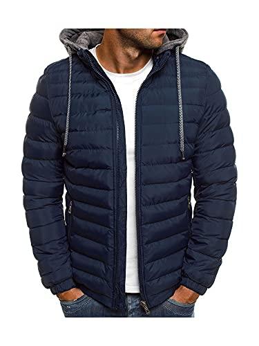 Kaenwang Hombres Invierno Abajo Chaqueta, Color Sólido Con Capucha Mangas Largas Con Cremallera Para Desgaste Exterior Con, azul marino, XL