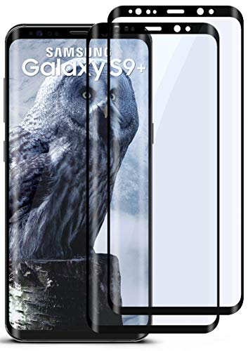 moex Full Screen Panzerglas kompatibel mit Samsung Galaxy S9 Plus - Schutzfolie randlos, ganzer Bildschirm, Curved 3D Schutzglas Folie, Clear 2X Schwarz