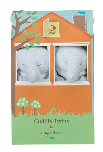 Angel Dear Cuddle Twin Set, Blue Elephant