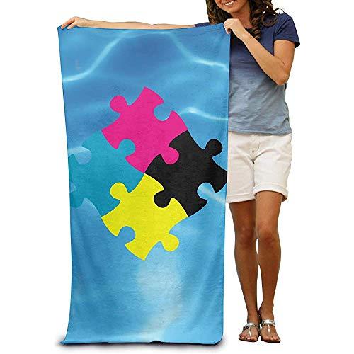 utong Toallas de Playa 100% algodón 80x130cm Toalla de Secado rápido para Nadadores Jigsaw Puzzle Beach Blanket