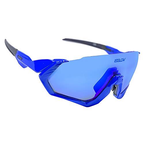 Gafas Ciclismo Hombre. Polarizadas Flight Jacket. 3 Lentes Intercambiables,antivaho, Resistentes a Impactos.Protección UV400. Ideales para Running, Esquí, Golf, MTB, Triatlon, Ciclismo (Azul Marino)