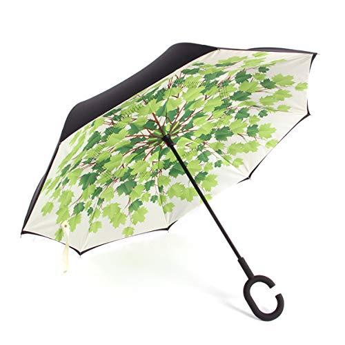 Paraguas De Apertura Automática Paraguas Plegable Reversible, Paraguas Invertido con Mango En Forma De C, Paraguas A Prueba De Viento, para Lluvia, Sol Y Coche Al Aire Libre,Green Maple Leaves