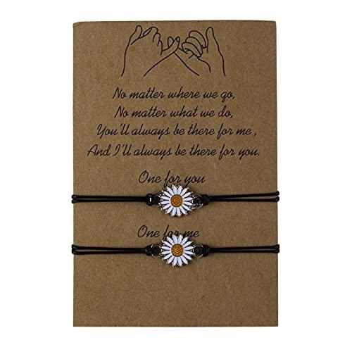 Thuscon Sunflower Pinky Promise Bracelets Best Friend Long Distance Friendship Gifts for Women Teen Girls