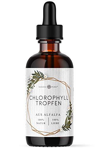 Chlorophyll flüssig aus Alfalfa | 100ml flüssiges Chlorophyll von Nordic Pure | 200mg Liquid Chlorophyll je Tagesdosis | Chlorophyll Tropfen als Alternative zu Chlorophyll Tabletten