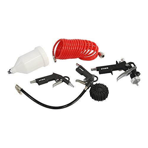 Druckluft-Werkzeugset, 4-teilig, Kompressor Zubehör, mit PE-Spiralschlauch, Spritz-, Aufblas- und Blaspistole