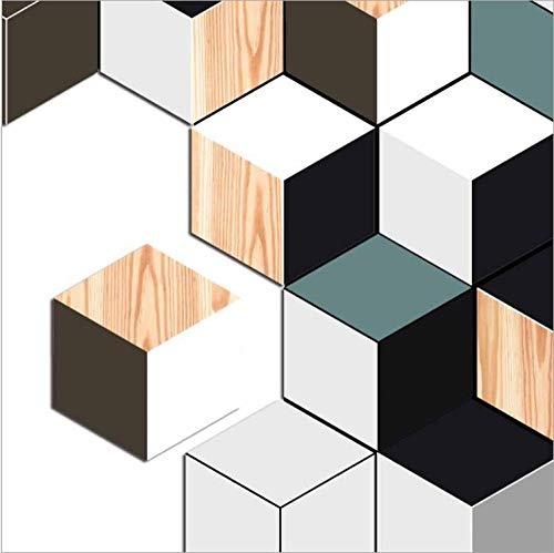 ZCQFFF Driekleurige kunsthoutnerf sticker zes pagina's anti-slip sticker huishoudtextiel DIY waterdicht verwijderbare muursticker vloersticker 10pcs Colour1