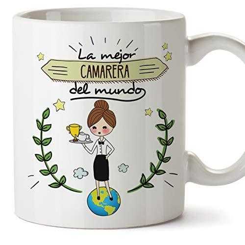MUGFFINS Camarera Tazas Originales de café y Desayuno para Regalar a Trabajadores Profesionales - La Mejor Camarera del Mundo - Cerámica 350 ml
