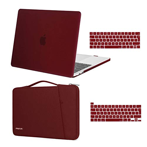 MOSISO Compatible with MacBook Pro 13 inch Case 2016-2020 Release A2338 M1 A2289 A2251 A2159 A1989 A1706 A1708, Plastic Hard Shell Case & 360 Protective Sleeve Bag & Keyboard Cover Skin, Marsala Red