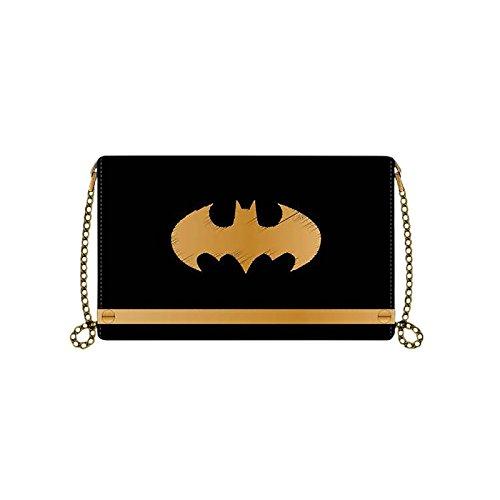Batman - Portefeuille pour dames logo avec chaîne - 19x11,7x2,5cm - Noir, doré