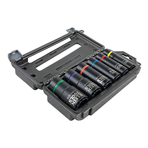Klein Tools 66010 2-in-1 Impact Socket Set, 6-Piece Tool Set with 12-Point Deep Sockets with 1/2-Inch Drive, Includes Tool Case