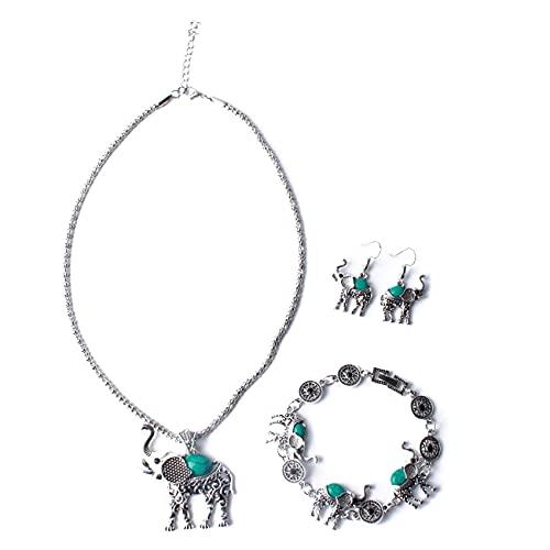 SMEJS Collar de moda, Pendientes, Pulsera, Conjunto de joyas de mujer elegante de estilo bohemio, Colgante de elefante, Collar de metal, Pendientes, Conjunto de pulsera