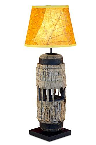 Kinaree tafellamp THAISIRI - 60-90 cm hoge lamp van oud hout met een lampenkap van gedroogde bladeren van de teakboom