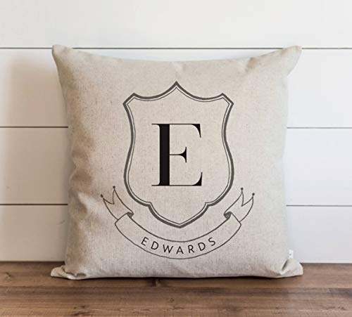 Promini Family Crest Monogram Pillow Cover Everyday Wedding Housewarming Anniversary Initial Gift Accent Pillow Case Cushion Pillowcase for Sofa Home Decor 26 x 26 Inches