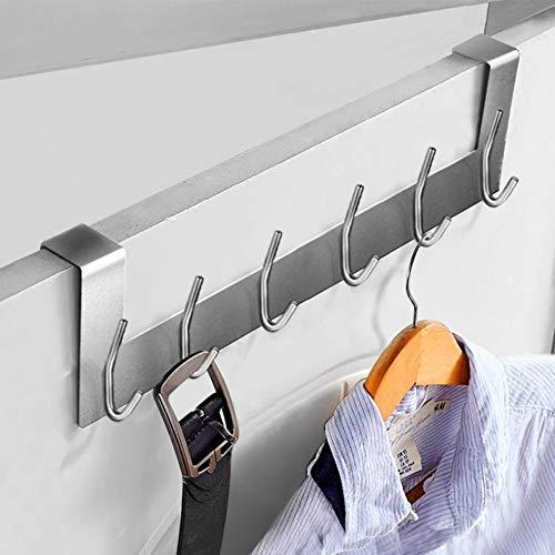 Ecooe Porta appendiabiti Porta guardaroba Appendiabiti in acciaio inox senza foratura con 6 ganci Gancio per porta per battuta Spessori fino a 2 cm