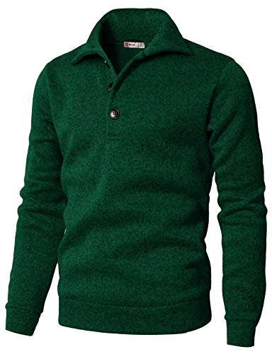 H2H Men's Slim Fit Turtleneck Basic Knit Sweater with Buttons Green US S/Asia M (CMTTL091)
