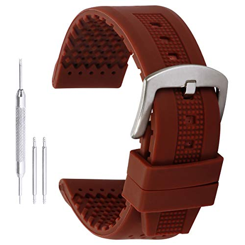 20mm Bracelets Mode de Bracelet de Montre en Caoutchouc de Silicone en Brun avec extrémité Droite Boucle Broche en Acier Inoxydable