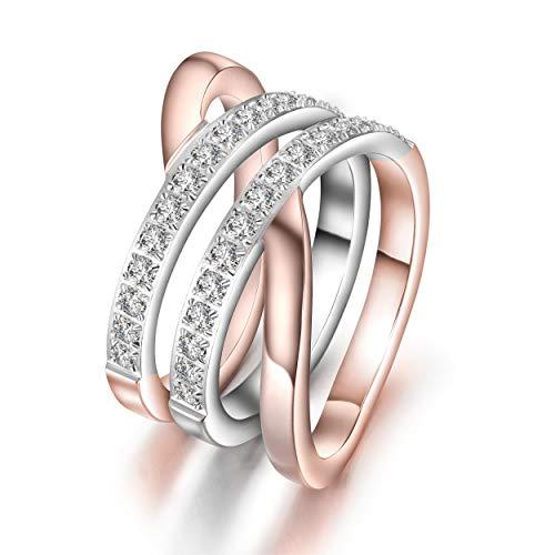 WISTIC Ring Rosegold/Gold Damen Kreuz Edelstahl Zirkonia Bandring Schmuck Geschenk für Frauen Mutter Freundin