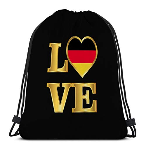 Classic Drawstring Bag For Man Women Gym Backpack Shoulder Bags Sport Storage Bag love typography germany flag gold lettering eps best print media web application user