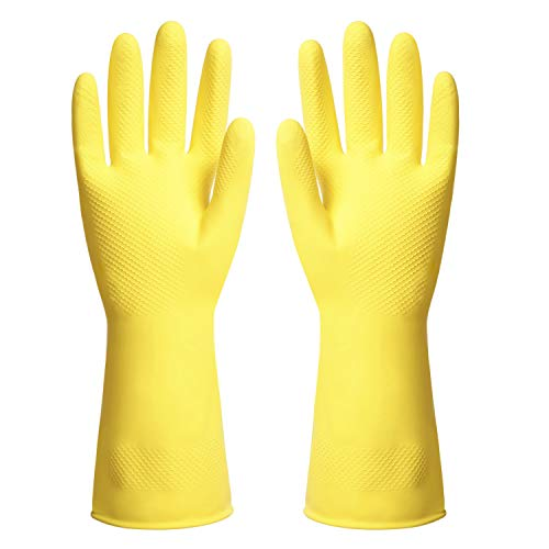 ThxToms Reusable Dishwashing Latex Gloves, Yellow Cleaning Gloves for Kitchen and Housework, Medium, 3 Pairs