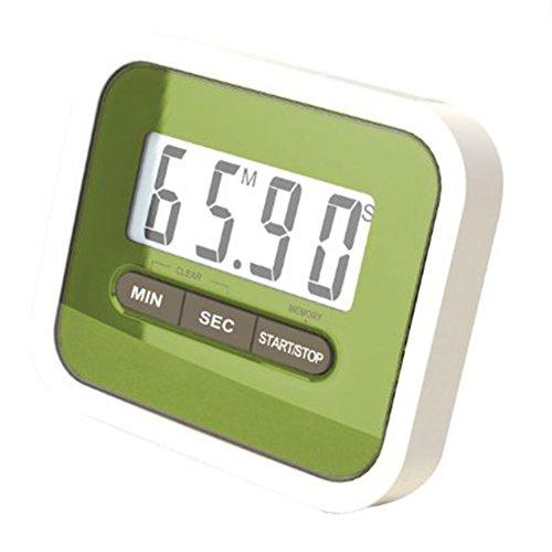 kentop electrónica de cocina digital temporizador 24h Cronómetro Cuenta atrás Cronómetro con soporte magnético, gran pantalla LCD, verde, 7.4×6.3×2CM