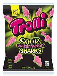 Trolli Sour Watermelon Shark Gummies, 4.25 oz (Pack of 3)