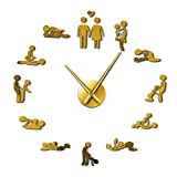hufeng Wall Clocks Sex Love Position Mute Wall Clock Bachelorette Game Sexy Kama Sutra 3D DIY Clock Watch Adult Room Decor Acrylic Big Time Clock Suitable for Garden Kitchen Bathroom and More