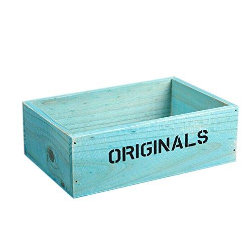 Azul Estilo Retro caja de Flores Rectangular de Madera La Caja de Madera Caja de Almacenamiento de Escritorio,19 * 13 * 6.5CM