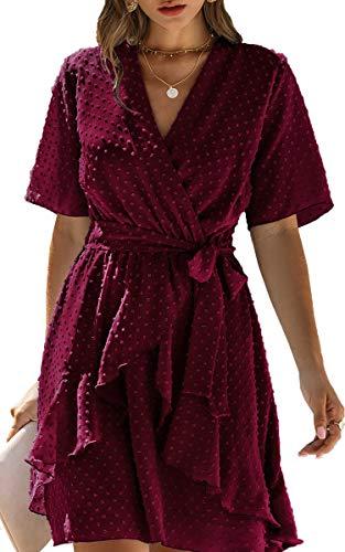 Spec4Y Damen Kleider V-Ausschnitt Vintage Langarm Rüschen Punkte Sommerkleid Knielang Swing Strandkleid Sommer 3023 Weinrot Medium