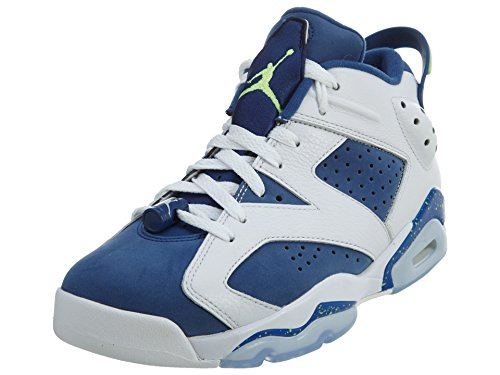 Nike Herren Air Jordan 6 Retro Low Basketballschuhe, Weiß/Grün/Blau (White Ghost Green Insgn Blue), 45 EU