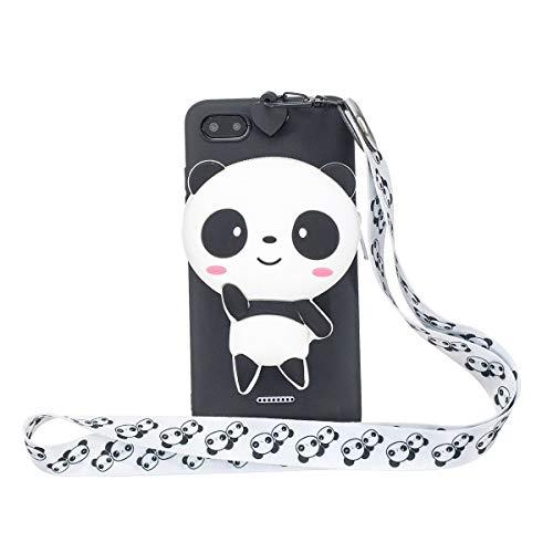 Capa fofa Panda Xiaomi Redmi 6A com cordão 3D desenho fofo à prova de choque capa protetora de animais de silicone para Xiaomi Redmi 6A 5,3 polegadas