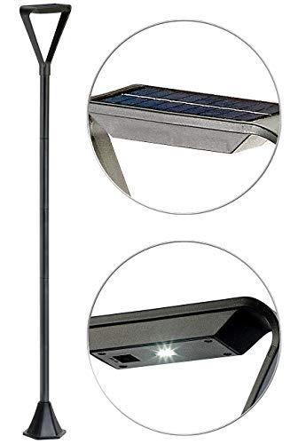 Royal Gardineer Solarlaterne für außen: Moderne Design-LED-Gartenlaterne, Solarpanel, Lichtsensor, 148cm, 50lm (Solarleuchten Laterne)