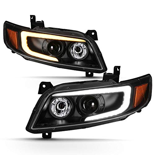 ACANII - For 2003-2008 Infiniti FX35 FX45 Black LED DRL Tube Switchback Signal Projector Headlights Headlmpas Left+Right