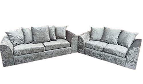 HHI Modern Silver Crushed Velvet Chicago Michigan Sofas (3+2 sofa set) Sofa Sets - Discount Offer on Sofa Sets
