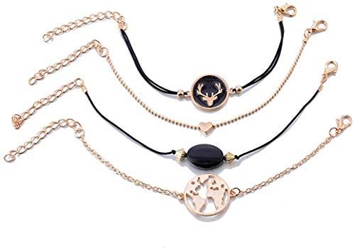 YS Bracelet Bohemia Map Antler Heart Layered Bracelet Set Women Beads Stone Pendant Adjustable Bracelet