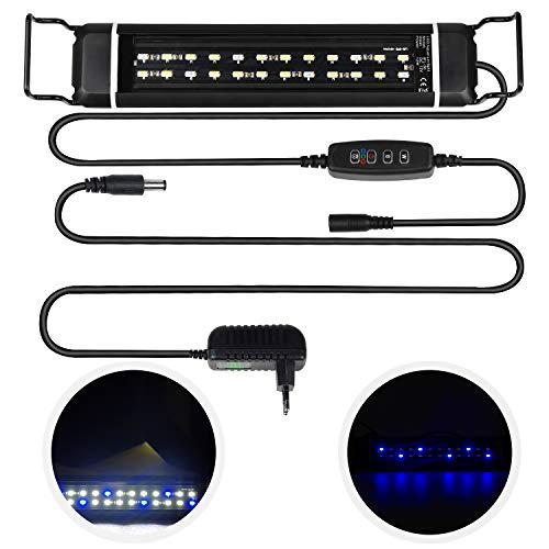 CPROSP Aquarium LED Beleuchtung mit Timer, mit 3 verstellbaren Lichtfarben Weiß/Blau/Blau+Weiß, für 30cm-48cm Aquarien, 12W, Schwarz