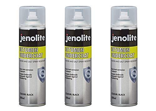 JENOLITE 3 x Aerosol De Betún - Producto de Protección de Bajos Bituminosa Negro - 500ml