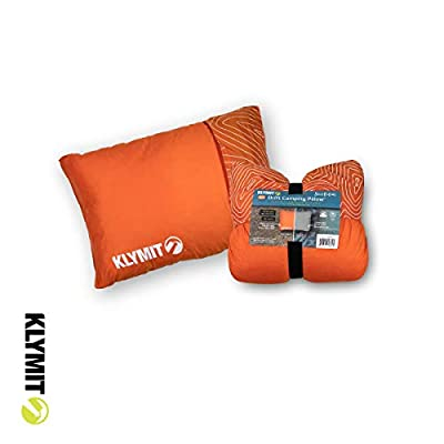 Klymit Drift Camping Pillow, Reversible Cover for Travel and Sleep, Shredded Memory Foam Comfort with Durable Shell (Regular-Orange)