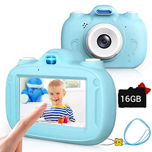 Kinderkamera, 28MP HD Video-Digitalkamera für Kinder, 3,0 Zoll IPS HD 1080P Touchscreen & Unterstützt WiFi/Kleine Spiele, Geburtstagsgeschenk für Junge Mädchen im Alter von 3-12 (Blau)