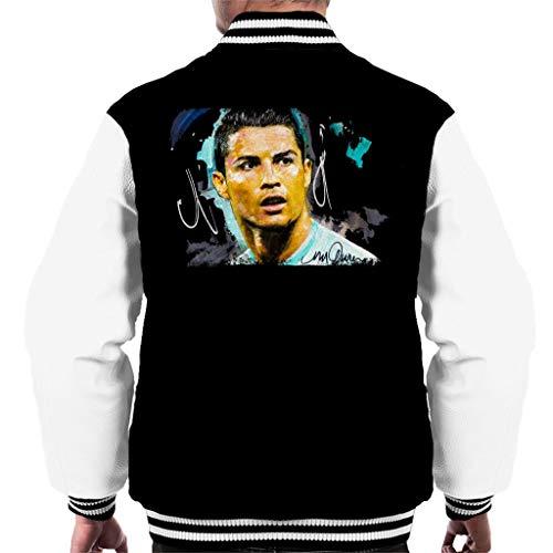 Vintro Herren-Jacke Cristiano Ronaldo, Original-Portrait von Sidney Maurer, professionell bedruckt Gr. XX-Large, Jet Black Arctic White