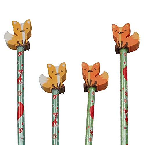 Reegen 4 Bleistifte * Fuchs * mit Radiergummi für Schule und Kindergarten | Stift Zeichnen Schreiben Kind Wald Waldtiere Tier