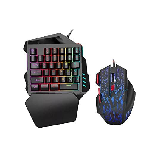 Un portátil Gaming Keyboard Handed Sensación ratón mecánico Mini Juego de Teclado con el Teclado del reposamanos móvil con conexión de Cable Oficina Mouse Set V100 + H300 Tipo de Equipo