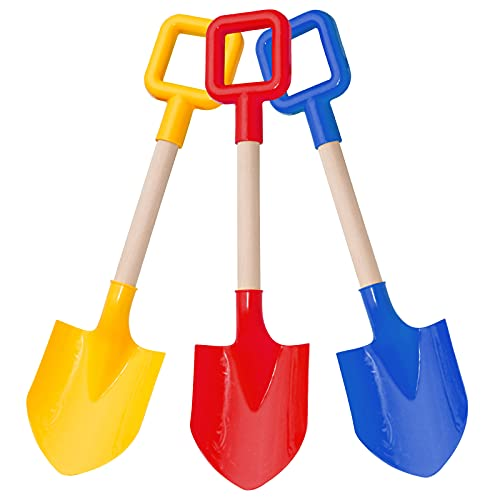 BeneFine 16.5' Long Kids Beach Spades Sand Shovels,Snow Shovels ,Gardening Tools KIT with Plastic Spade & Handle for Digging Sand or Snow Fun Gift Set Bundle(3 Pack)--Blue&Yellow&Red