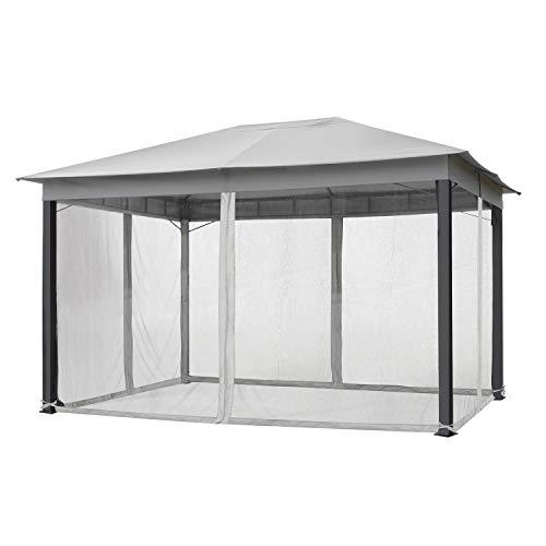 TOOLPORT Moskitonetz für Gartenpavillons 3x4 m - Polyester - Insektengitter inkl. Ringe, mit Reißverschluss - grau