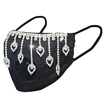 1PCS Adult's Rhinestone Mask,Cotton Blend Recyclable Face Bandana Face Cloth with Protect Cover Safety Washable Reusable Breathable Cover (F)